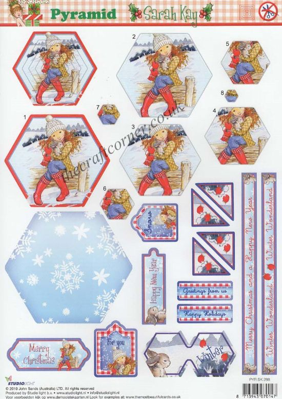 Sarah Kay & Rabbit Festive Pyramid Die Cut 3d Decoupage Sheet From Studio Light